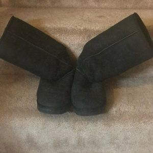 UGGS-BLACK SUEDE/SHEARLING TALL BOOTS